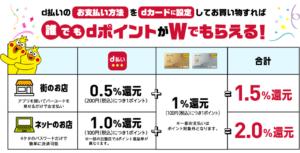 【dカード】d払いのお支払い方法をdカードに設定!dポイントがWでもらえる!