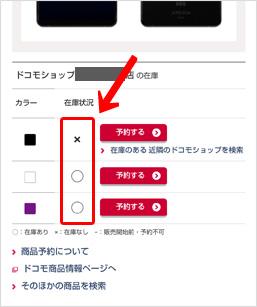 各端末の色/容量ごとの在庫状況が確認できる