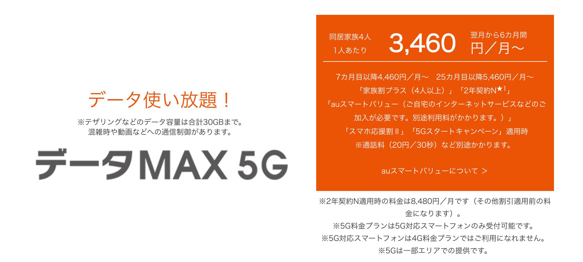 au データMAX 5G バナー