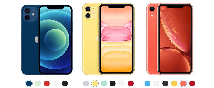iPhoneシリーズのカラーバリエーション