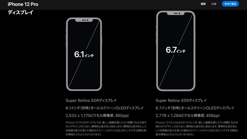 iPhone12 Pro と 12 Pro Max