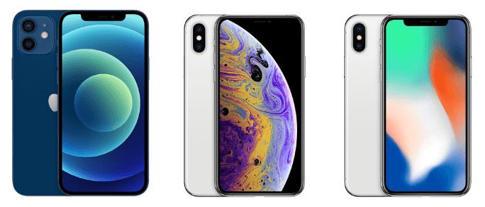iPhone12とiPhoneX・iPhoneXSを比較