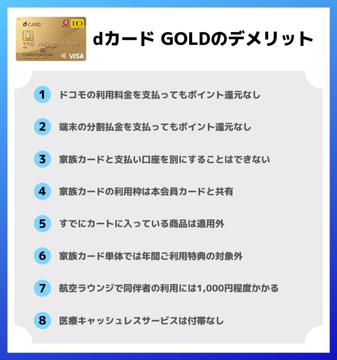 dカード GOLDのデメリット