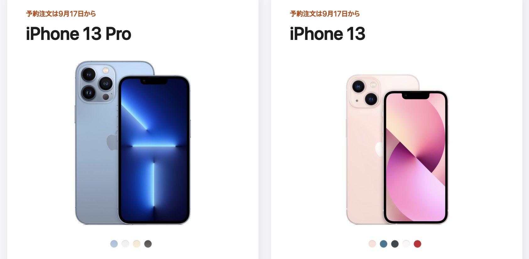 iPhone13とiPhone13 Pro
